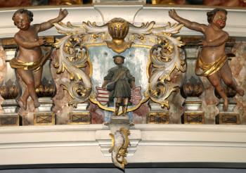 Stadtwappen mit Hl. Jakobus, Ev. Jakobuskirche Hettstedt