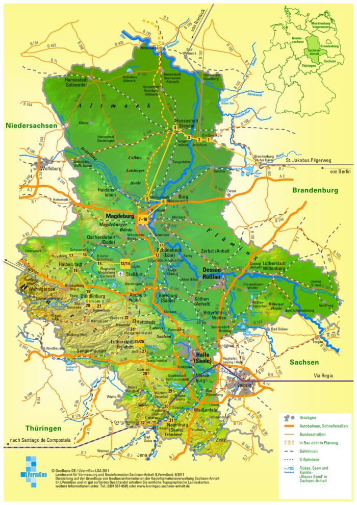 karte sachsen anhalt Verlauf des Jakobuswegs durch Sachsen Anhalt karte sachsen anhalt